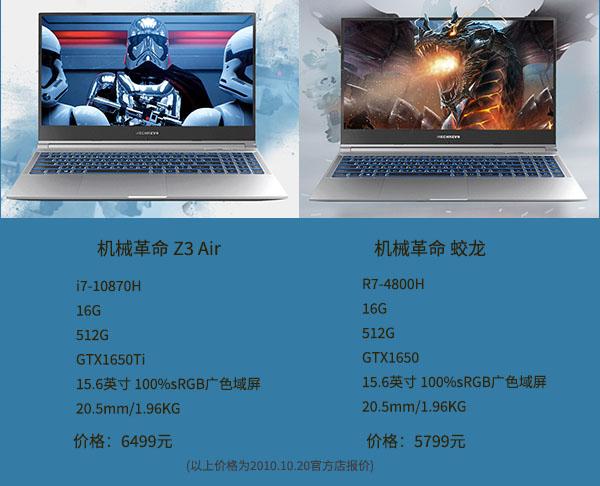 i7-10870H和R7-4800H笔记本电脑价格对比